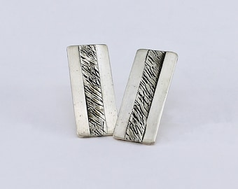 Handcrafted Sterling Silver Post Earrings Sophisticated Tailored Contemporary  Geometric Design Artisan One of a Kind Jewelry 20176304111116