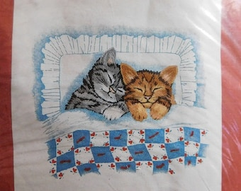 Naptime Vintage 1986 Janlynn Country Cats Kittens Crewel Embroidery Quilting Picture Craft Kit, New/Old in Pkg