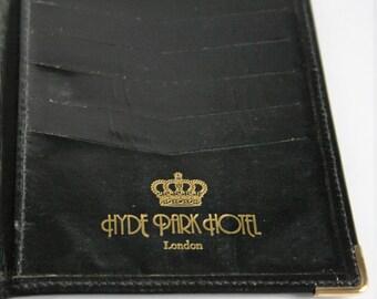 Vintage leather wallet. Black leather wallet. Hyde Park Hotel London.  Mens wallet