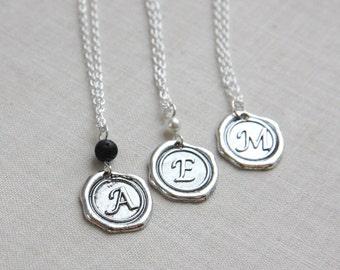 Boho Jewelry Gift Black Lava Stone Necklace Essential Oil Diffuser Necklace Wax Seal Initial Necklace Monogram Jewelry Personalized Necklace