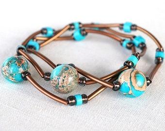 Turquoise Bracelet Sea Sediment Jasper Stone Bracelet Thin Bracelet Stackable Bracelet Layered Bracelet Boho Chic Copper Tube jewelry trend