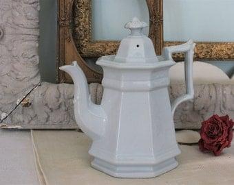 Antique English White Ironstone Teapot Coffee Pot