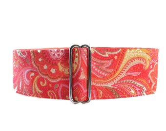 Pink Martingale Collar, 1.5 Inch Martingale Collar, Paisley Martingale Collar, Paisley Dog Collar, Sighthound Collar
