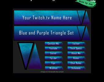 stock panel art for twitch channel - Blue and Purple Triangle Set