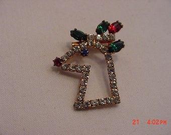 Vintage Rhinestone Rudolph The Red Nosed Reindeer Christmas Brooch  17 - 525
