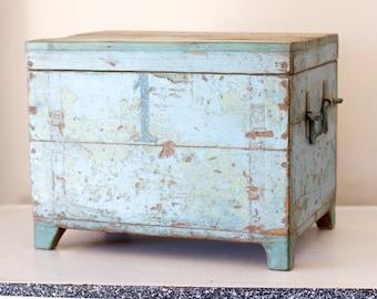 Vintage Blue Wooden Trunk
