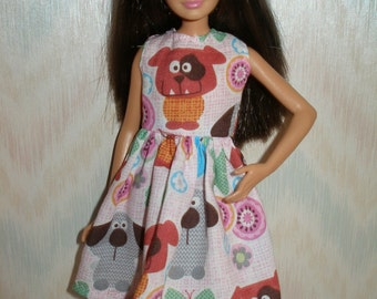"""Handmade little sister 10.5"""" fashion doll clothes - pink puppy dress"""