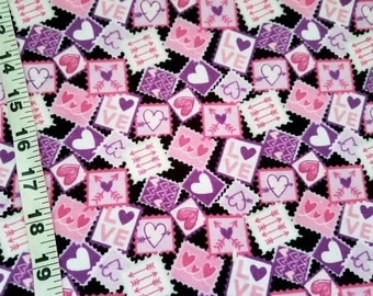 Flannel fabric Valentine's Day heart love stamp cotton print sewing material by the yard BTY quilter craft project Valentines fabric