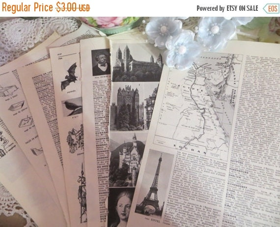 ON SALE Vintage Ephemera-French Illustrated Dictionary Pages-PETITE-Altered Art-Atc-Supplies-Papers-Altered Art-Inspiration-Mixed Media