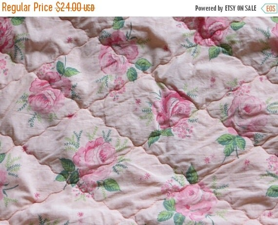ON SALE Vintage 1940's Shabby Quilted Roses Fabric-Coral Pink