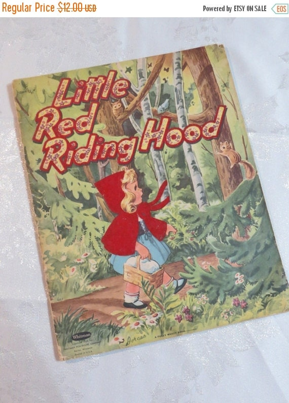 ON SALE Vintage Childrens Book-Little Red Riding-hood-1954-Linen-Whitman