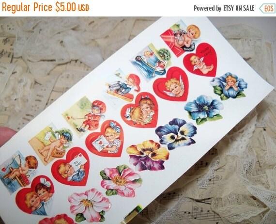 ON SALE Vintage Valentine Victorian Scraps-Embossed-18 per sheet