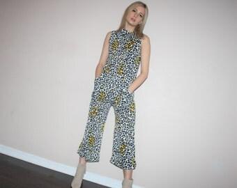 Vintage 90s Graphic Leopard Print Glam Rocker Jumpsuit Romper - Vintage  1990s Jumpsuits - W00495