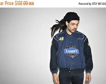 On SALE 40% Off - Vintage 1980s Lowe's Racing Team Retro Race Car Bomber Jacket - 80s Clothing - MV0163