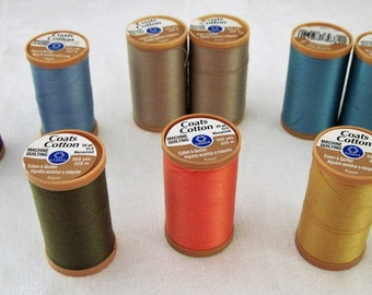 9 Spools Coats Cotton Machine Quilting Thread 350 Yards Each 7 Different Colors