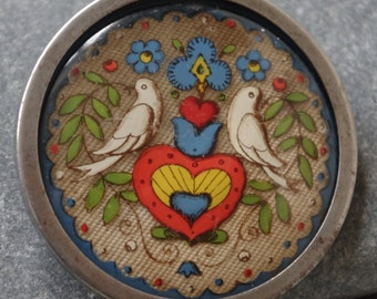 Beautiful Antique - Hand painted - Scandinavian Dove - Brooch - c1930s