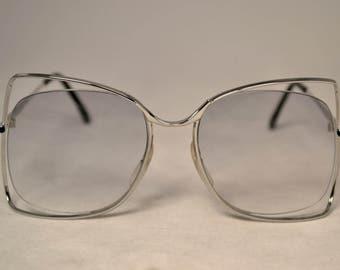 1970's Oversize Vintage Fashion Eyeglasses, Rimless Floating Lens, New Old Stock, Silver Palma