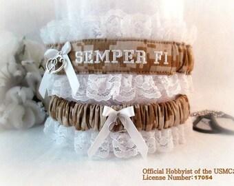 USMC Wedding Garter Set - Military Wedding Garters - Marine Bridal Garters - Personalized Garters - Semper Fi Garters.