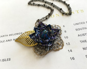 Origami flower necklace- midnight blues