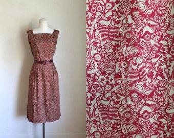 vintage 1960s novelty print dress - TURKEY bird print wiggle dress / XS