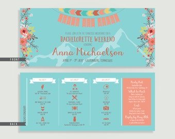 Boho Bachelorette Invitation with Itinerary -Tribal - Let's Get Wild - Personalized Printable File or Print Package - #00235C-PI10