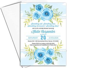 Something blue bridal shower invitation | floral wedding shower invitation printable | watercolor flower invitation - WLP00618