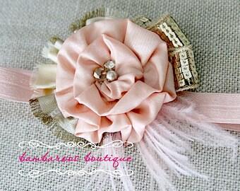 Baby headband, Newborn headband, Headband, Photo prop, Rose gold headband, Pink headband, Gold headband,