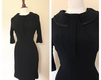 Vintage black wiggle dress 1950s size S