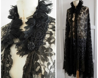 Vintage gothic black lace cape