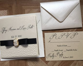 Tiffany Wedding Invitation -- Cameo Wedding Invitation -- Pocket Wedding Invitation -- Elegant Wedding Invitation