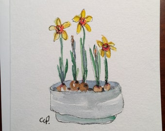 Daffodils Blooming Watercolor Card / Hand Painted Watercolor Card