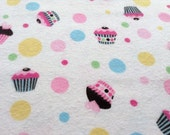 Cupcakes Soft Flannel Fabric, LAST YARD, Sewing Flannel Fabric, Pink Cupcake Fabric, Sewing Supplies, Fabric Sale