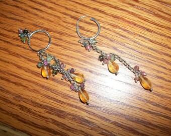 sterling silver amber dangle earrings