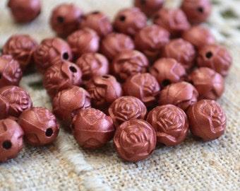 100pcs Acrylic Beads 8mm Flower Rose Metallic Red