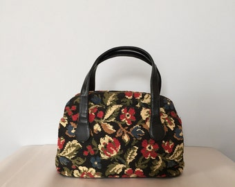 70s carpet doctor bag | floral tapestry handbag