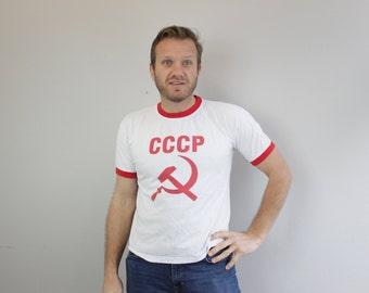 Vintage Red Ringer Soviet Union Tshirt