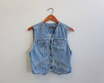 Vintage 90s Jean Vest By Liz Wear