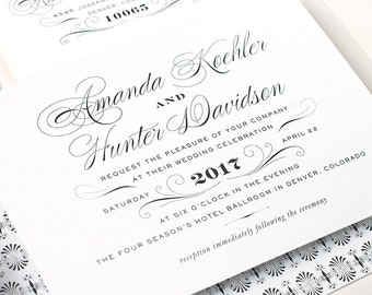 Classic Wedding Invitation, Black and White Wedding Invite, Traditional Wedding, Letterpress, Foil Stamp, Flat - Derriery - DEPOSIT