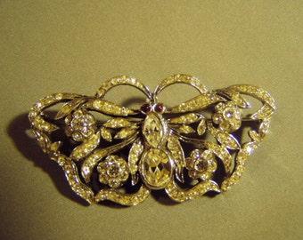 Vintage GA Italy Sterling Silver Rhinestone Butterfly Pin Brooch 9003