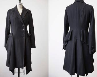 Black Wool Dramatic Winter Coat Bustle Draped Fitted Long Gothic Victorian S