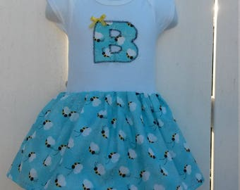 CLEARANCE - Size 12 Months B is for Bees Blue Short Sleeve Onesie Dress  READY to SHIP