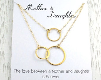 Spring SALE Mother-Daughter Necklace Set, Anniversary Gift, Eternity Double Hoop, Bridal Gift for Mom, Interlocking Circle Link, 24K G...