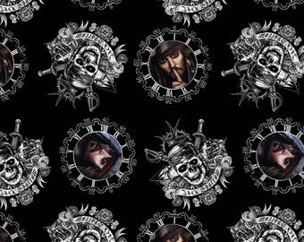 Pirates of the Caribbean Cotton Fabric By the Yard Captain Jack Sparrow In Stock