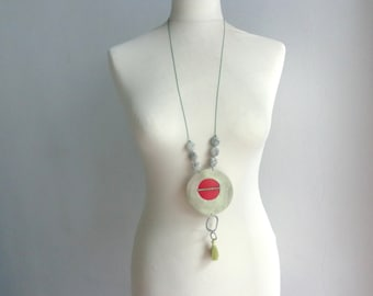 Green Red gem circle necklace, tassel red green leather necklace, long tassel necklace