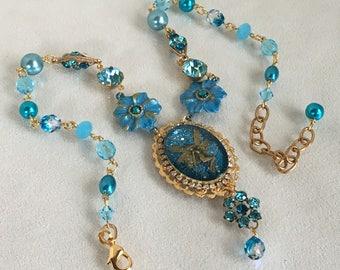 Blue Angel Fairy Pendant Necklace