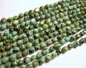African turquoise - Rounded nugget  bead - full strand - 8mm -  african turquoise gemstone - PSC337