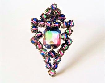 c.1950s Iris Glass Dress Clip... Bright Open Back Stones