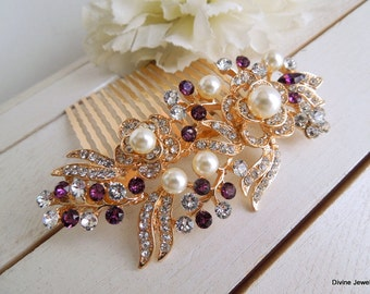 ivory pearl and Rhinestone bridal Hair Comb Wedding Rhinestone Hair Comb Rose Rhinestone Hair Comb Swarovski Crystals Purple Hair Comb ROSSE