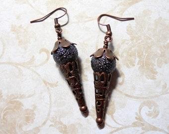Black and Copper Boho Earrings (3133)