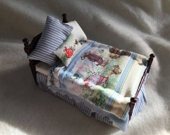 Dolls House Luxury Dressed 1/12th Single Bed - Mr Rabbit - NEW SPRING 2017